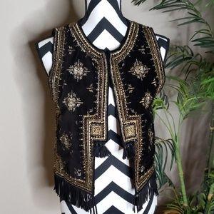 Zara Beaded Boho Festival Vest